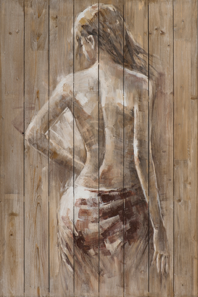 schilderij vrouw op steigerhout  80x120