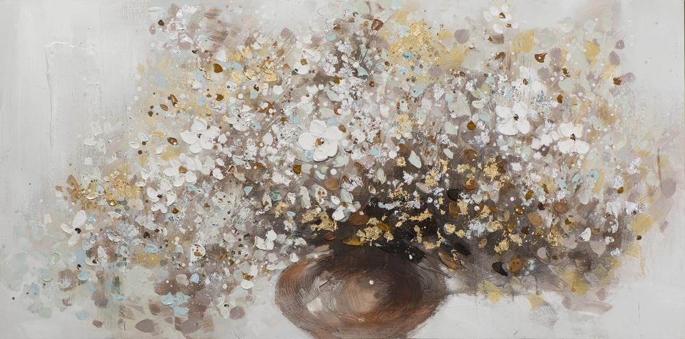 Schilderij bloemen in vaas 70x140