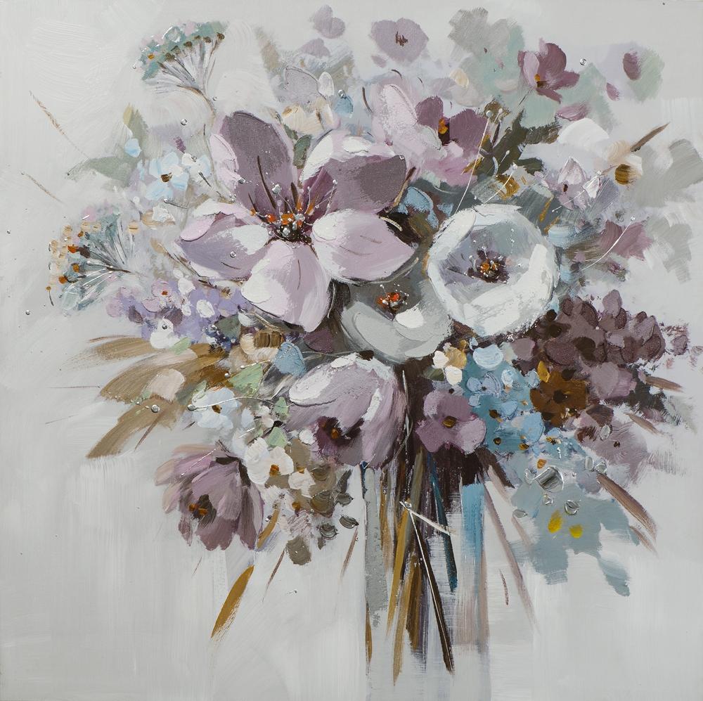 Schilderij bloemen in vaas 80x80