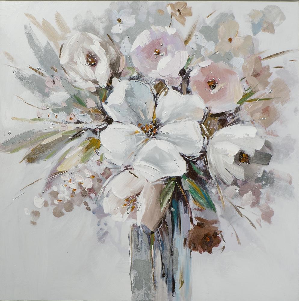 schilderij 80x80 bloemen in vaas