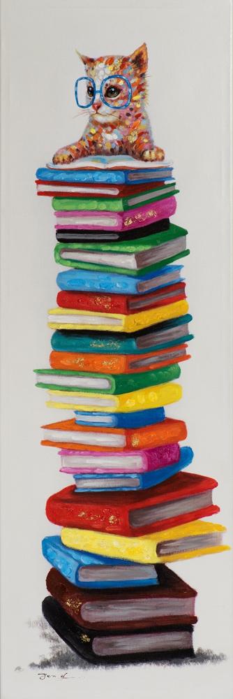 Schilderij poes met boeken 40x120