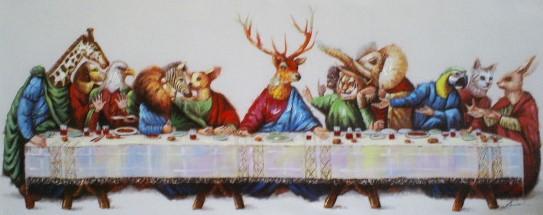 dieren aan tafel 50x120