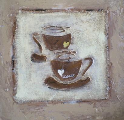 schilderij koffie kopjes 40x40
