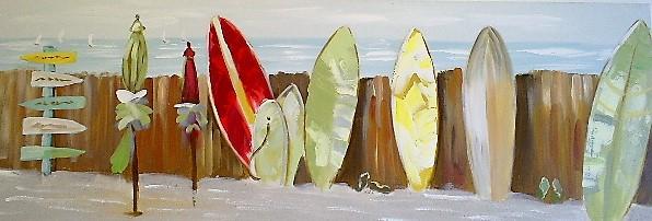 schilderij surfplanken 30x90