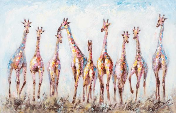 Schilderij giraffen 90x140