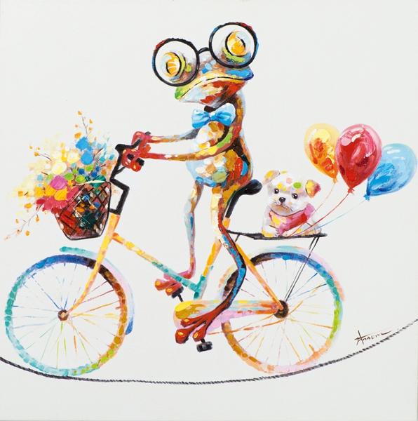 schilderij kikker op fiets 70x70