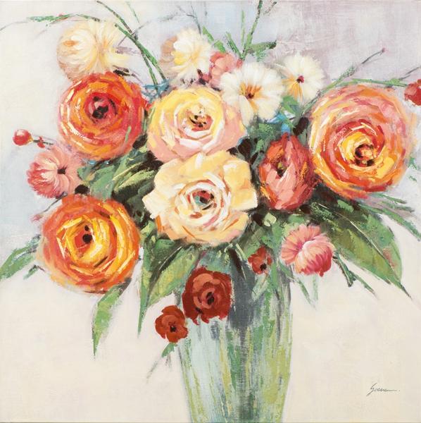 schilderij Bloemen in vaas 100x100
