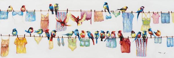 schilderij vogeltjes aan waslijn 50x150