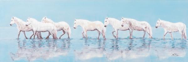 schilderij paarden 50x150