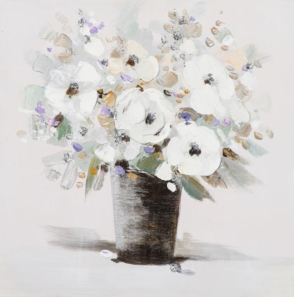 schilderij Bloem in vaas 50x50