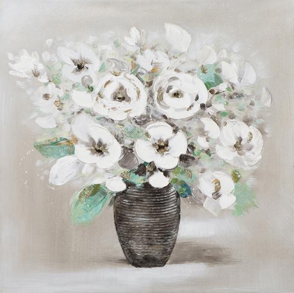 Schilderij bloemen in vaas 50x50