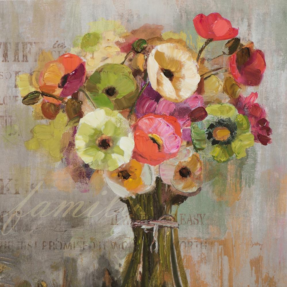 schilderij vaas bloemen 60x60