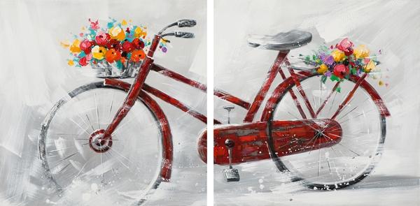 Schilderij fiets set 80x160