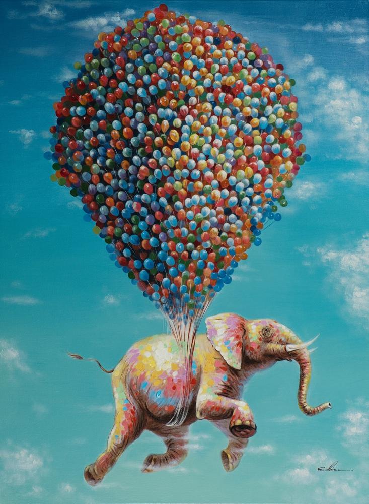 Schilderij vliegende olifant 90x120
