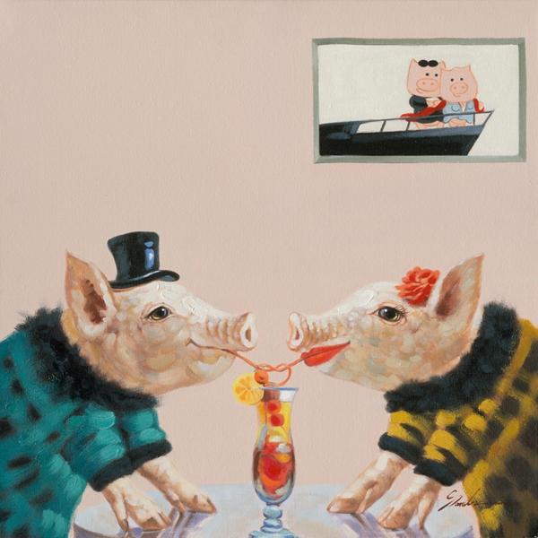 Schilderij varkens 70x70