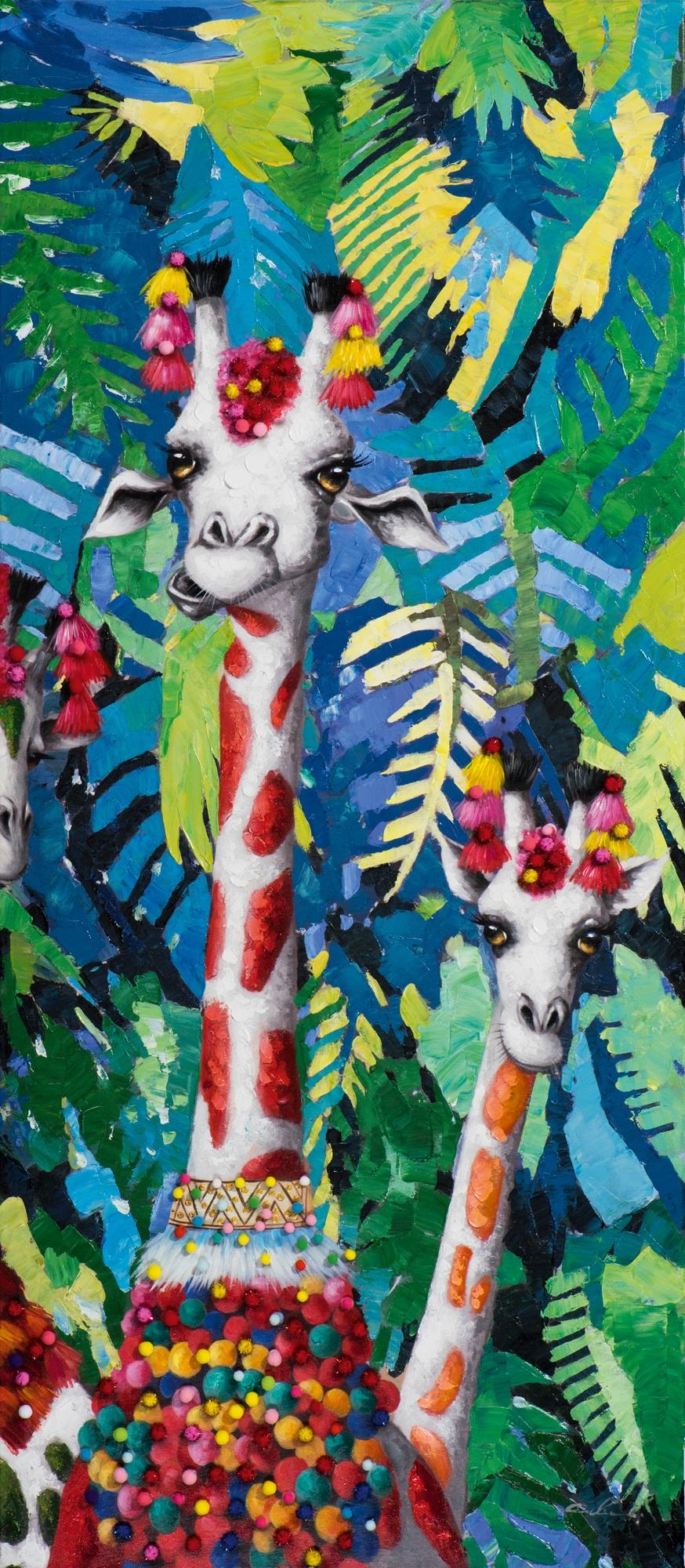 Schilderij giraf 70x160 Nieuw!