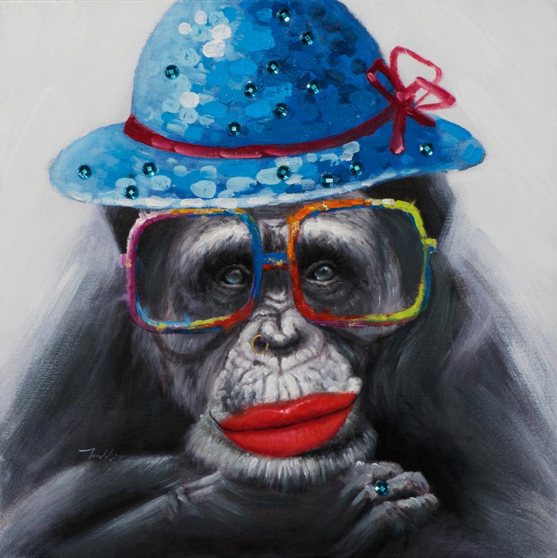 Schilderij aap met bril 70x70