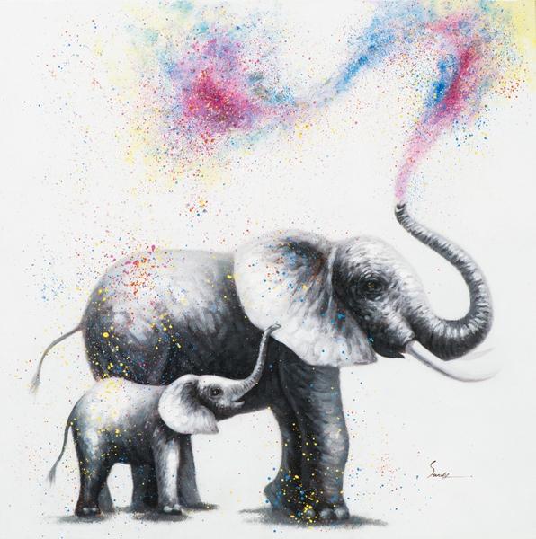 schilderij olifant 80x80