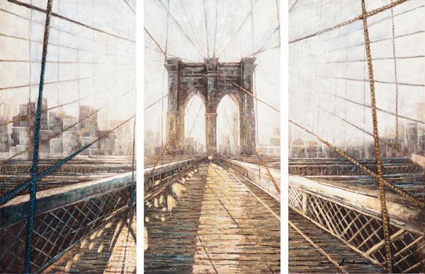 Schilderij bridge 3 luik 100x150