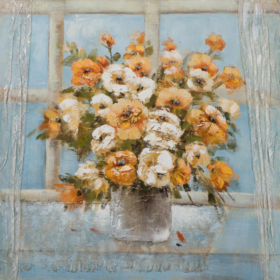 Schilderij bloemen in vaas 70x70