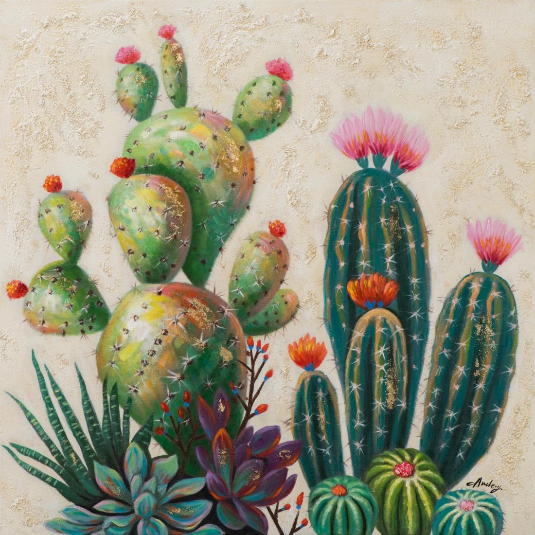 Schilderij cactus 80x80