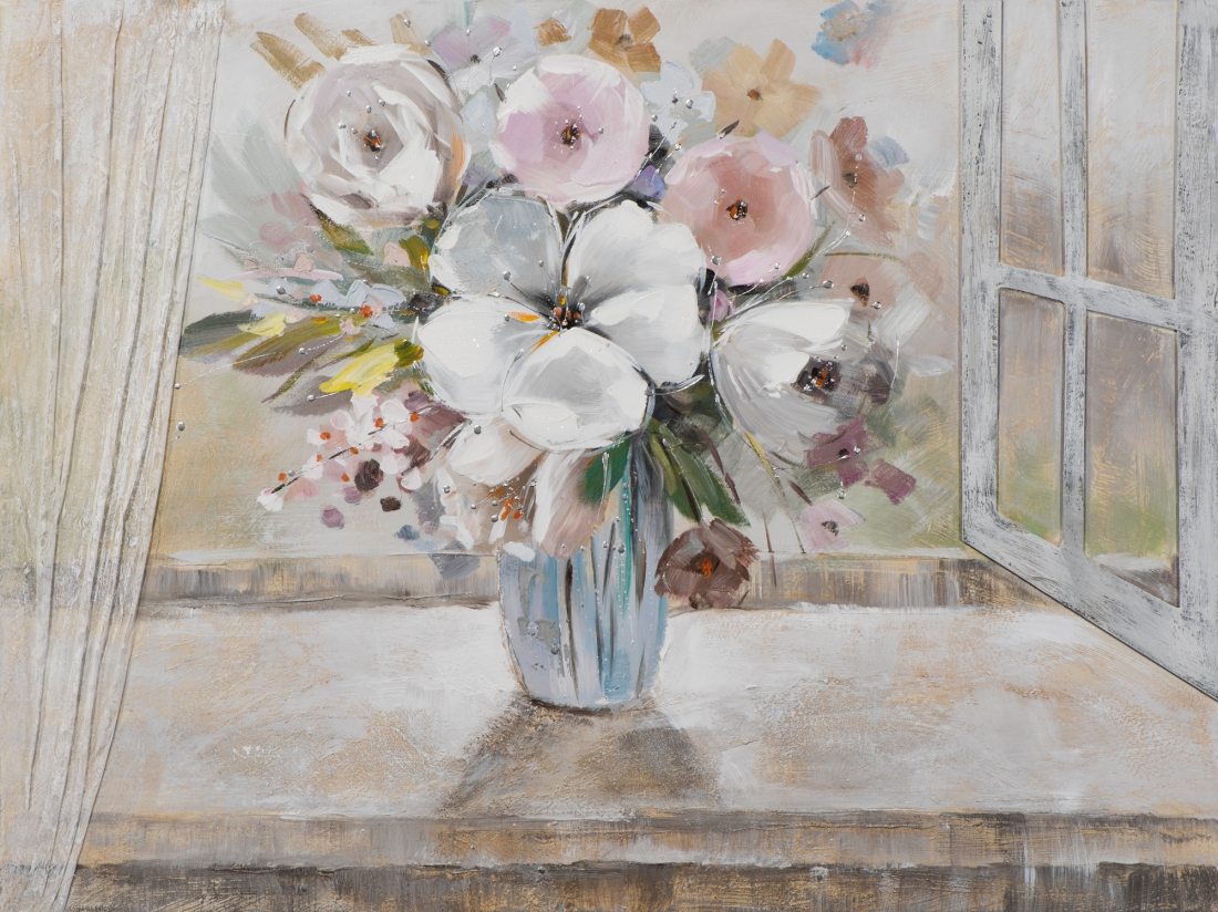 schilderij bloemen in vaas 90x120