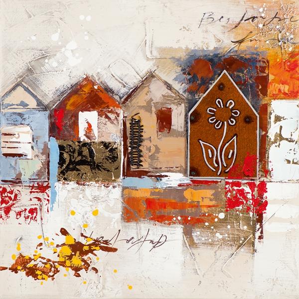 schilderij huisjes 50x50