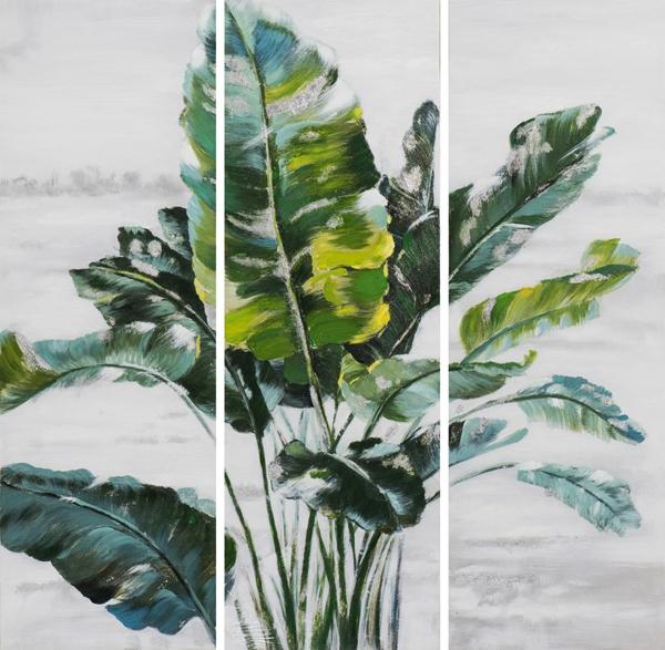 schilderij botanisch meerluik 3x 30x90