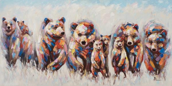Schilderij beren 70x140