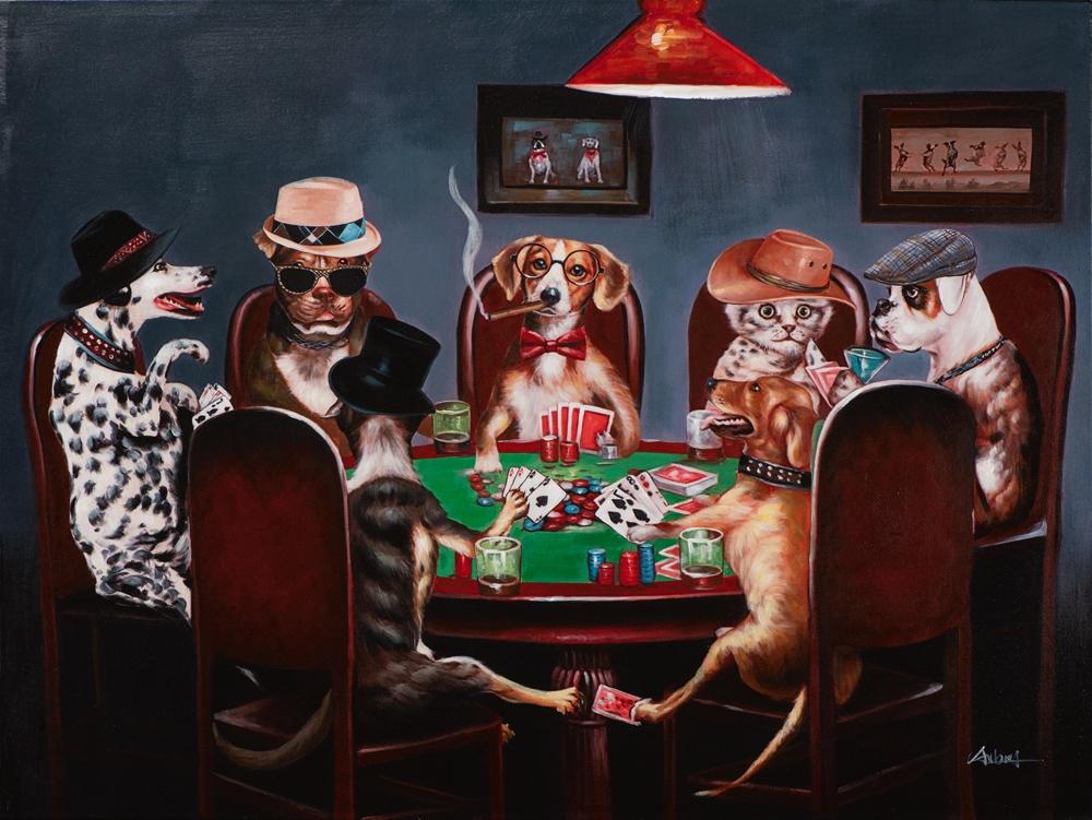 Schilderij pokeren aan tafel 90x120