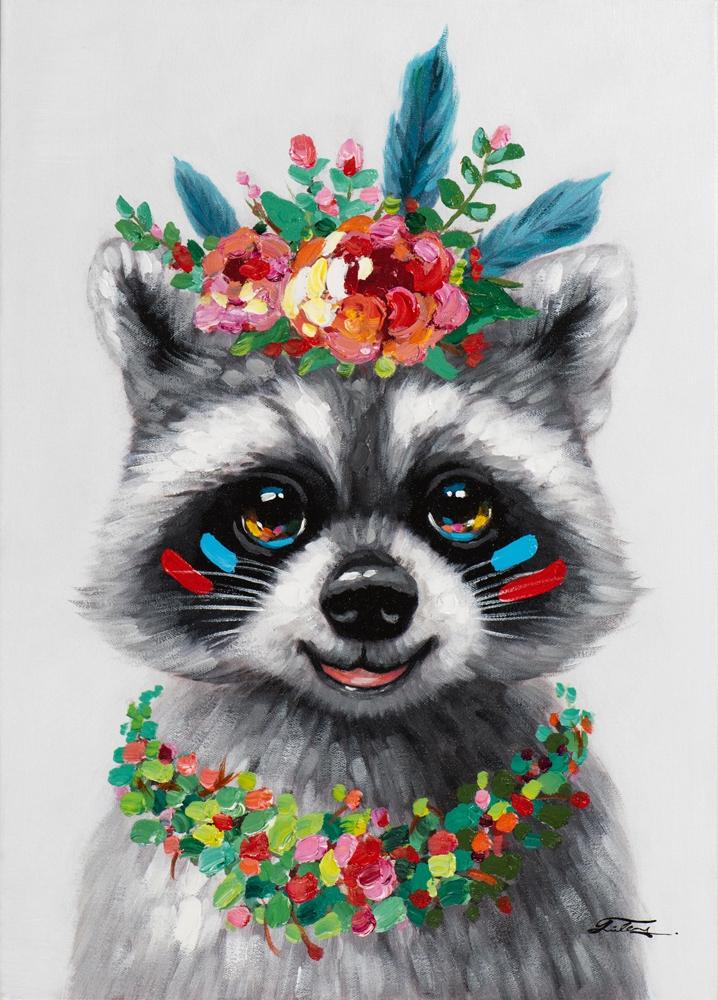 Schilderij wasbeer 50x70
