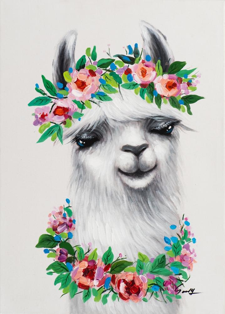 Schilderij lama 50x70