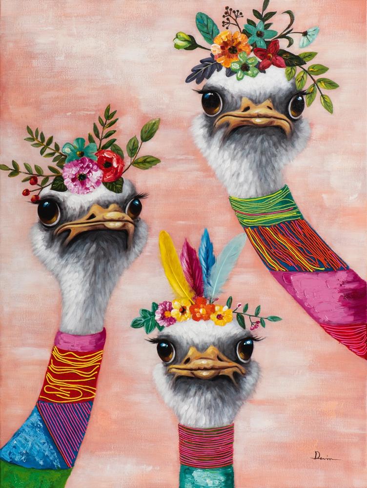 Schilderij struisvogels 90x120