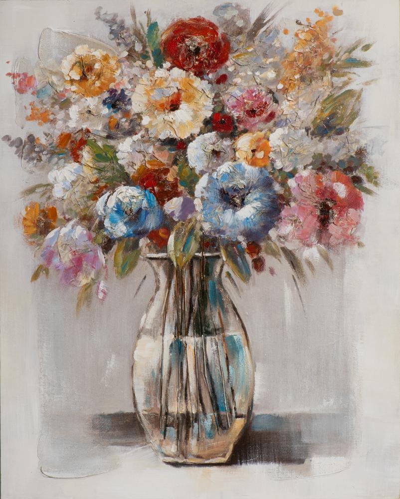 Schilderij vaas met bloemen 80x100