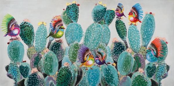Schilderij cactus met vogeltjes 70x140