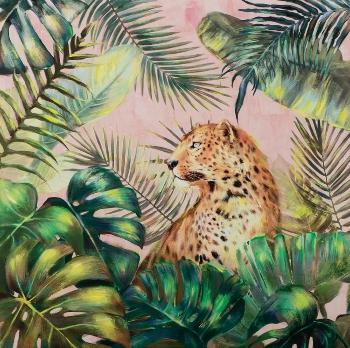 Schilderij luipaard  100x100