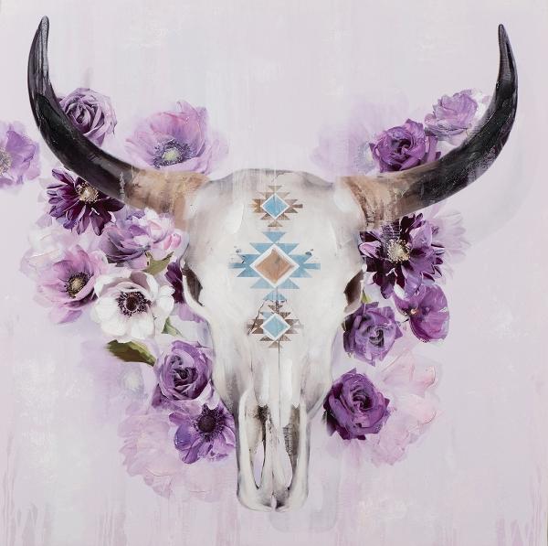 Schilderij stier skull 80x80