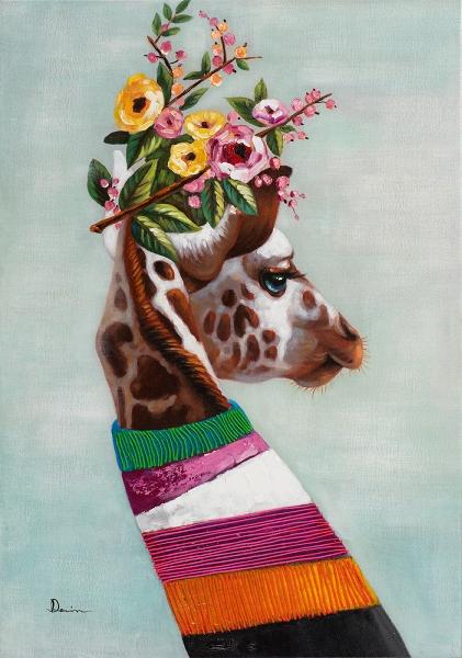 Schilderij giraffe 70x100