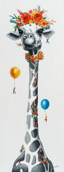 Schilderij giraffe 60x160