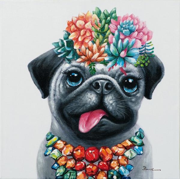 Schilderij hond 50x50