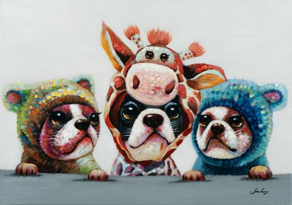 Schilderij bulldogjes 70x100