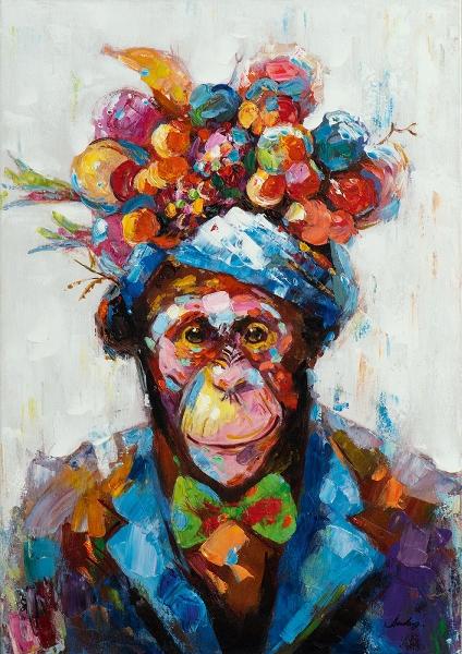 schilderij aap met fruitschaal 70x100