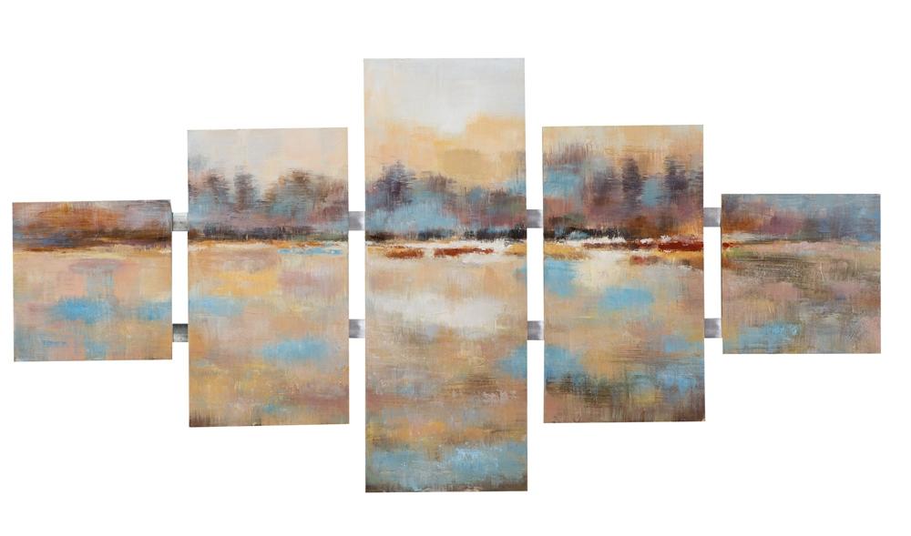 Schilderij abstract 5-luik 80x162