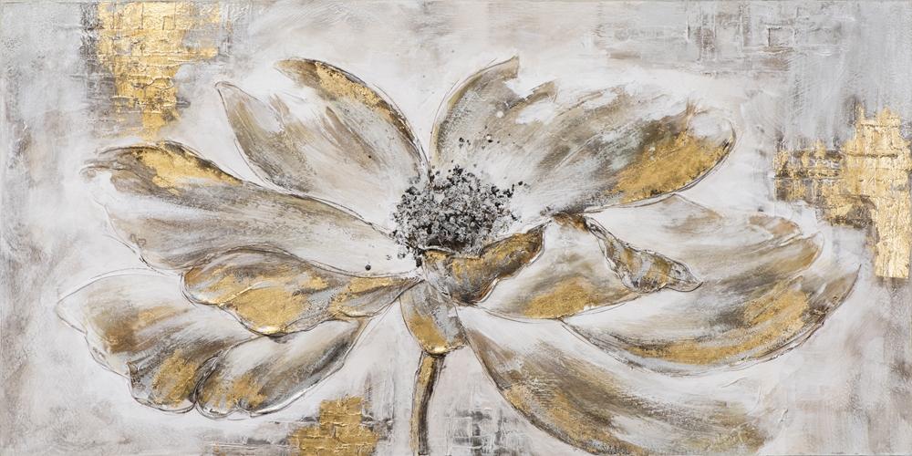 schilderij bloem 70x140