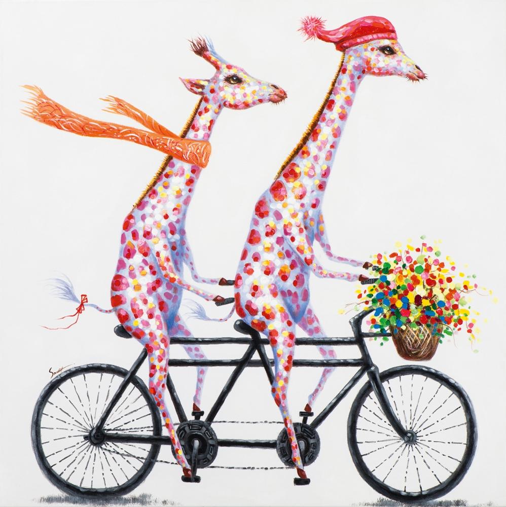 Schilderij giraffe 100x100