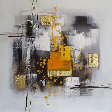 schilderij modern  grijs geel 60x60