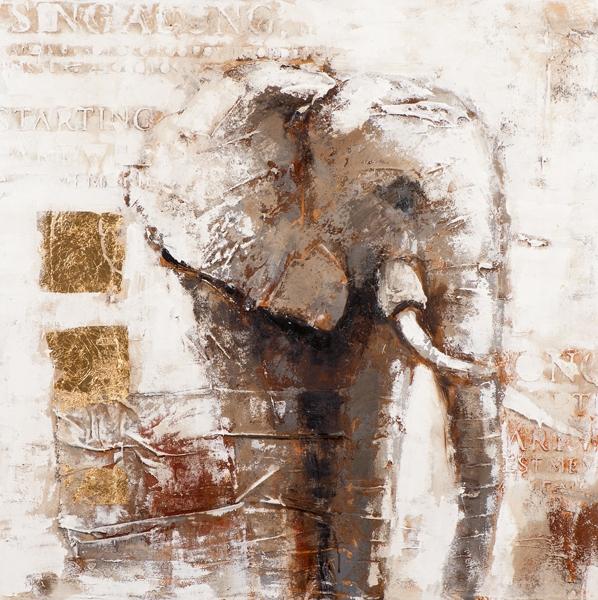 Schilderij 100x100 Olifant