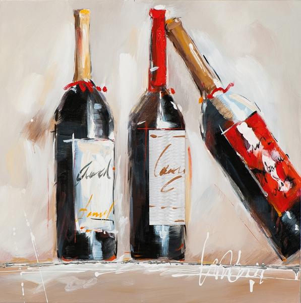 Schilderij Wijnfles 60x60