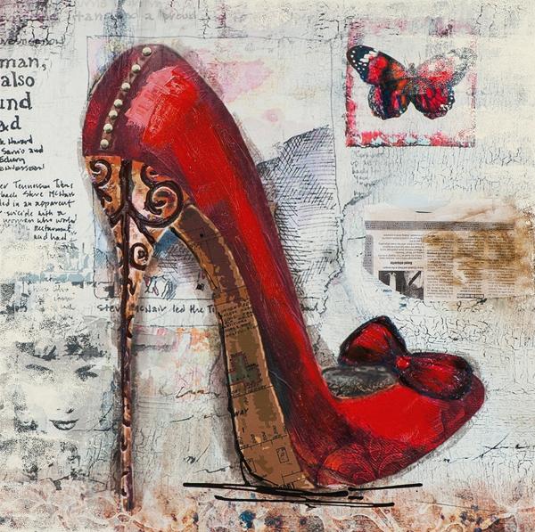 Schilderij rode pump 75x75