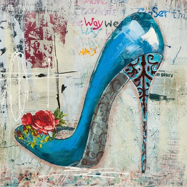 Blauwe pump schilderij 75x75